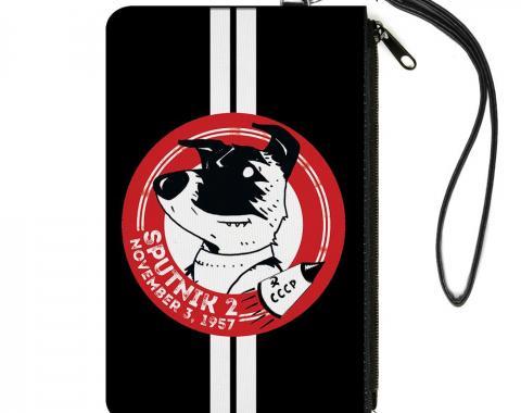 Canvas Zipper Wallet - LARGE - SPUTNIK 2 Laika Dog Black/Red/White