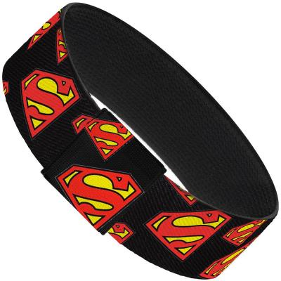"Elastic Bracelet - 1.0"" - Super Shield Diagonal Black/Red"