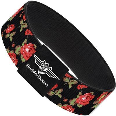 Buckle-Down Elastic Bracelet - Red Roses Scattered Black