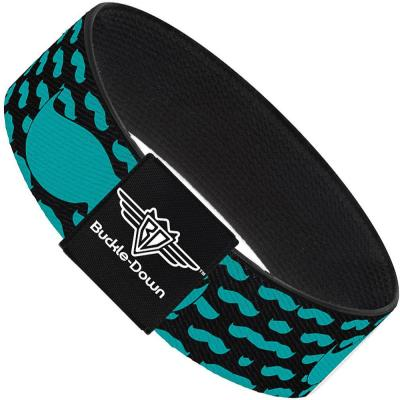 Buckle-Down Elastic Bracelet - Mustaches Mini/Single Repeat Black/Turquoise