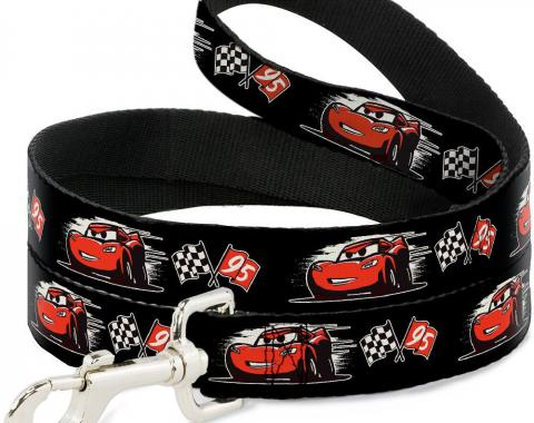 Dog Leash Cars 3 Lightning McQueen Caricature/Race Flags Black/White/Red