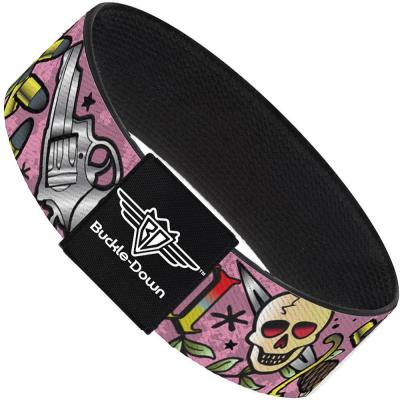 Buckle-Down Elastic Bracelet - Born to Raise Hell Pink