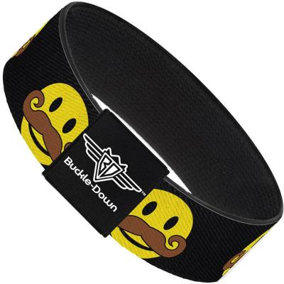 Buckle-Down Elastic Bracelet - Mustache Happy Face Black/Yellow/Brown