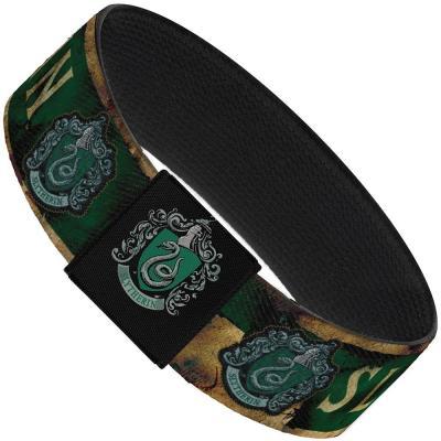 """Elastic Bracelet - 1.0"""" - SLYTHERIN Burnt Banner/Patch Gold/Green"""