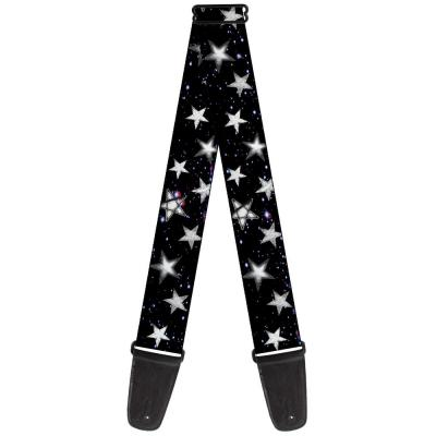 Guitar Strap - Glowing Stars in Space Black/Purple/White