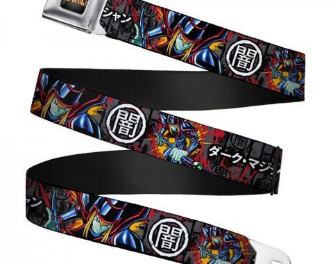 YU-GI-OH! Logo Full Color Black-Fade/Gold Seatbelt Belt - Dark Magician Poses/DARK Kanji Gray/Black Webbing