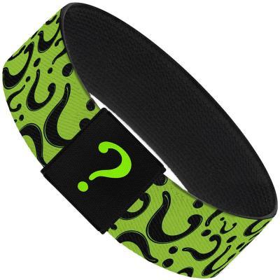 "Elastic Bracelet - 1.0"" - Question Mark Scattered Lime Green/Black"