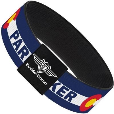 Buckle-Down Elastic Bracelet - Colorado PARKER Flag Blue/White/Red/Yellow