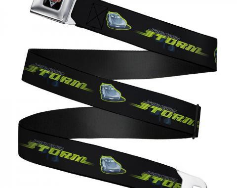 CARS 3 Emblem Full Color Black/Silver/Red Seatbelt Belt - Cars 3 JACKSON STORM Pose/STRIPE Black/Greens Webbing