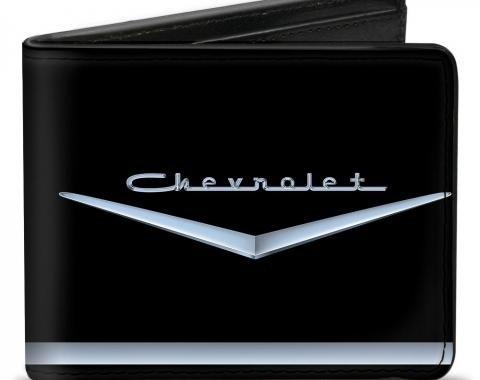 Bi-Fold Wallet - 1955-57 CHEVROLET V Emblem/Stripe Black/Silver