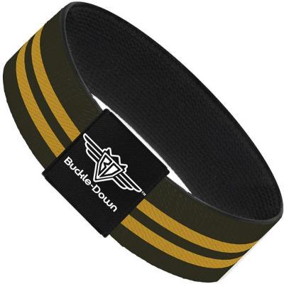 Buckle-Down Elastic Bracelet - Stripe Black/Gold