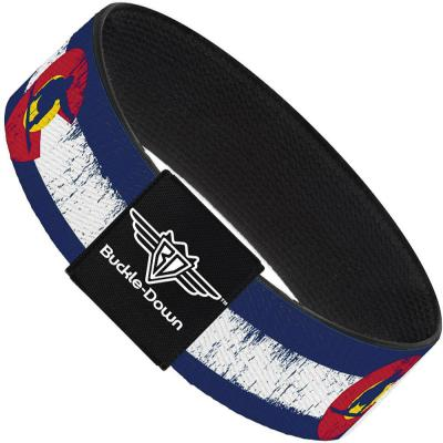 Buckle-Down Elastic Bracelet - Colorado Flag/Snowboarder Weathered