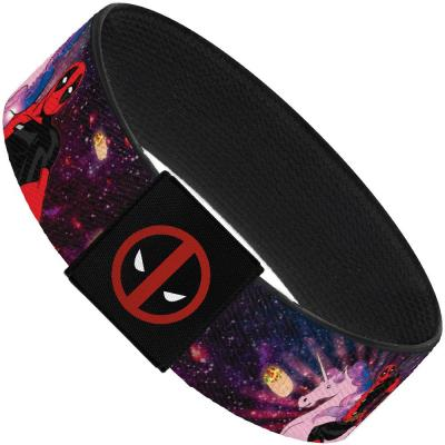"MARVEL DEADPOOL Elastic Bracelet - 1.0"" - Deadpool on Unicorn Pose/Chimichangas/Rays Galaxy Blues/Purples/Pinks"