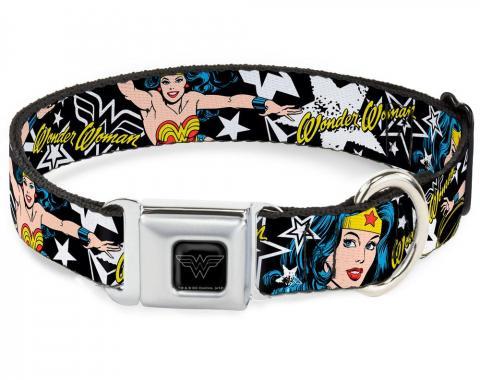 Dog Collar WWE-Wonder Woman Black/Silver - Wonder Woman/StarsBlack/White
