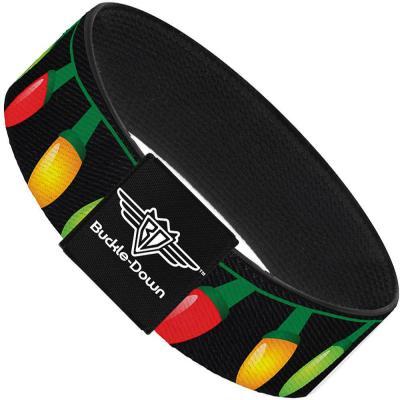 Buckle-Down Elastic Bracelet - Christmas Lights Black/Multi Color