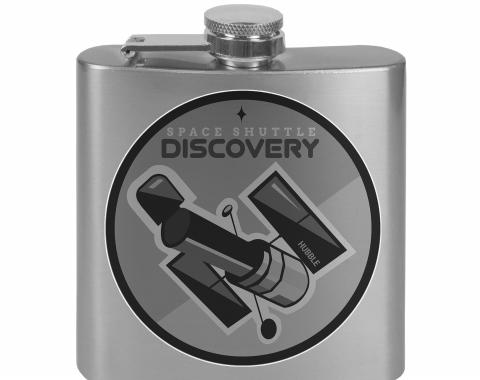 Stainless Steel Flask - 6 OZ - Stainless Steel Flask - 6 OZ - SPACE SHUTTLE DISCOVERY Hubble Telescope2 Tonal Grays
