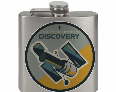 Stainless Steel Flask - 6 OZ - SPACE SHUTTLE DISCOVERY Hubble Telescope2 Blues/Gray/Yellow