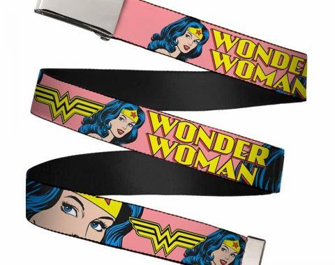 Chrome Buckle Web Belt - WONDER WOMAN w/Face CLOSE-UP Red Webbing