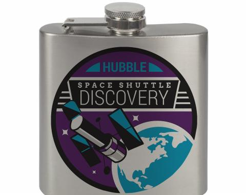 Stainless Steel Flask - 6 OZ - SPACE SHUTTLE DISCOVERY Hubble Telescope Black/White/Purple/Blue