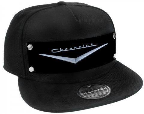Embellishment Trucker Hat BLACK - Full Color Strap - 1955-57 CHEVROLET V Emblem Black/Silver