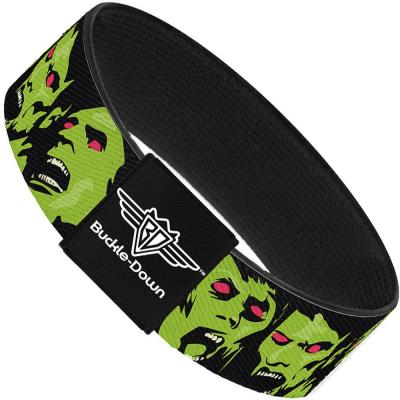 Buckle-Down Elastic Bracelet - Zombie Expressions Black/Green/Red