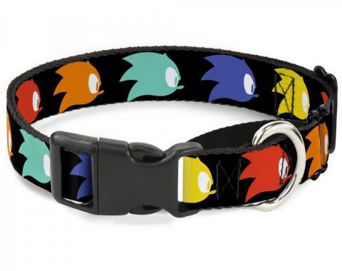 SONIC CLASSIC Plastic Martingale Collar - Sonic Mania Sonic Profile Icon Black/Multi Color