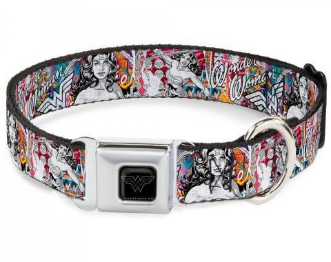 Dog Collar WWE-Wonder Woman Black/Silver - Wonder Woman Sketch Scene