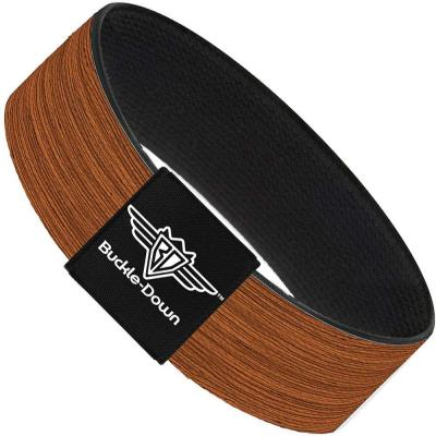 Buckle-Down Elastic Bracelet - Wood Grain2 Horizontal Reddish Brown