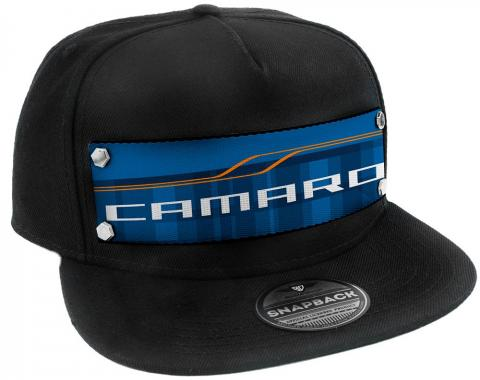 Embellishment Trucker Hat BLACK - Full Color Strap - CAMARO SS Abstract Blues/Orange/White