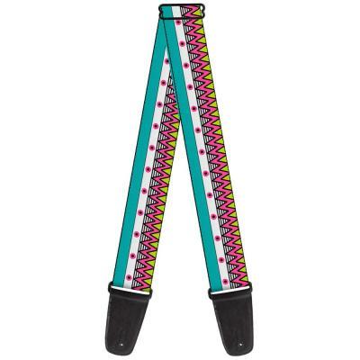 Guitar Strap - Aztec 14 Seafoam Green/White/Pink/Lime Green/Black