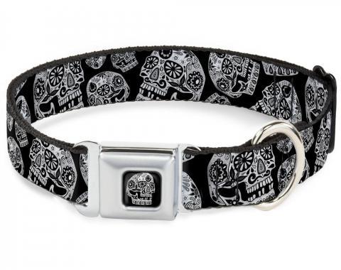 Dog Collar TYB-The Dust of Living II Skull Full Color Black/White - The Dust of Living II Sugar Skulls Black/White