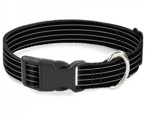 Buckle-Down Plastic Buckle Dog Collar - Pinstripes Black/Gray
