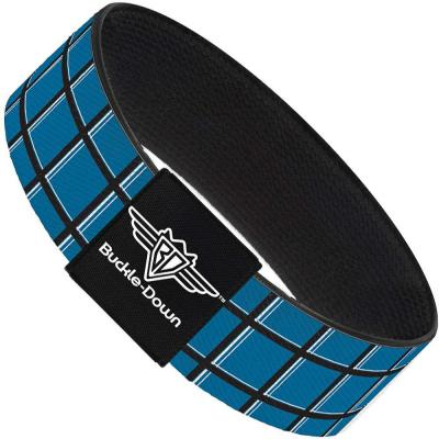 Buckle-Down Elastic Bracelet - Wire Grid Turquoise/Gray/White