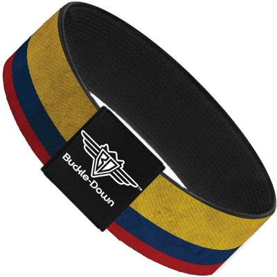 Buckle-Down Elastic Bracelet - Colombia Flag Distressed