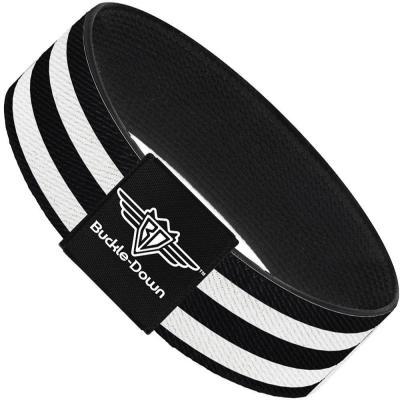 Buckle-Down Elastic Bracelet - Stripes 3Black/2White
