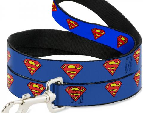 Dog Leash Superman Shield Blue