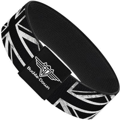 Buckle-Down Elastic Bracelet - Union Jack Distressed Black/White