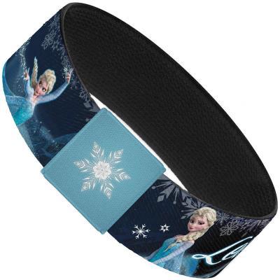 "Elastic Bracelet - 1.0"" - Elsa the Snow Queen Poses/Snowflakes LET IT GO Blues/White"