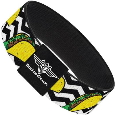 Buckle-Down Elastic Bracelet - Taco/Chevron Black/White