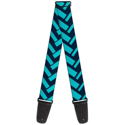 Guitar Strap - Jagged Chevron Navy/Turquoise