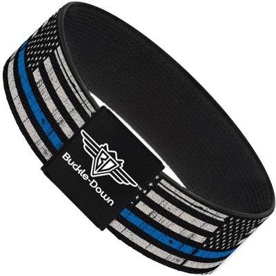 Buckle-Down Elastic Bracelet - Thin Blue Line Flag Weathered Black/Gray/Blue