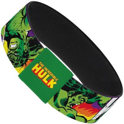 "MARVEL COMICS  Elastic Bracelet - 1.0"" - Hulk Stomping/Punching HULK Purple/Red/Orange/Yellow"