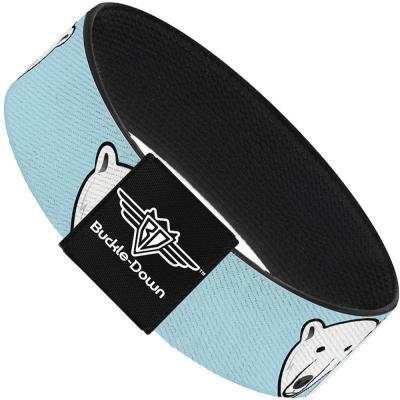 Buckle-Down Elastic Bracelet - Polar Bear Repeat Baby Blue