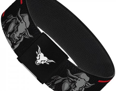"Elastic Bracelet - 1.0"" - THE ROCK/Bull Charge Black/Red/White/Grays"