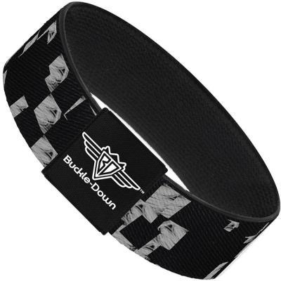 Buckle-Down Elastic Bracelet - Scribble Checker Black/White