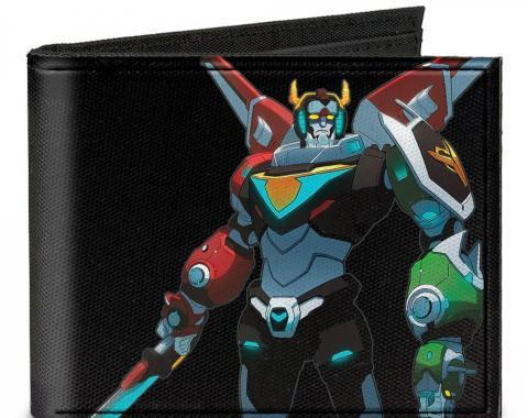 Canvas Bi-Fold Wallet - New Series Voltron Sword Down Pose + VOLTRON Logo/Lion Rays Black/Multi Color