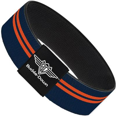 Buckle-Down Elastic Bracelet - Racing Stripe Navy/Orange