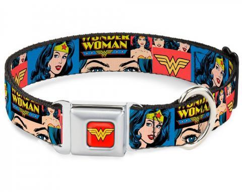 Dog Collar WWA-Wonder Woman Red - Wonder Woman Panels Blue