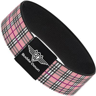 Buckle-Down Elastic Bracelet - Plaid Pink