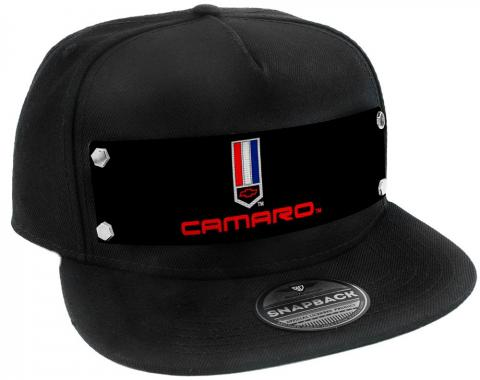 Embellishment Trucker Hat BLACK - Full Color Strap - CAMARO Badge2 Black/Red/White/Blue